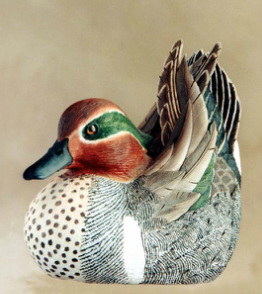 hand carved Green-wing Teal duck