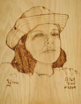 woodburned portrait from a photo