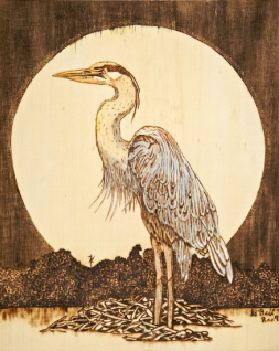 wood burned blue heron with watercolor accent