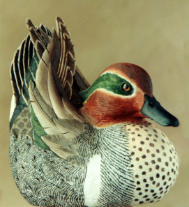 handcarved green-wing teal drake