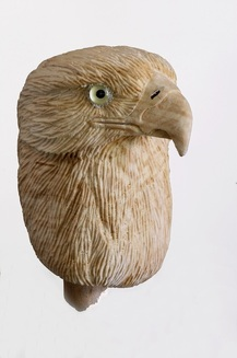 handcarved veterans eagle head cane topper