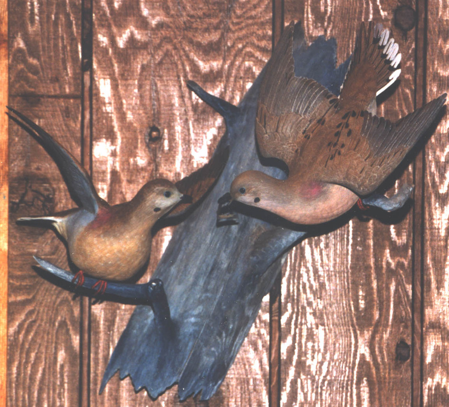 handcarved mourning dove pair - wall mount