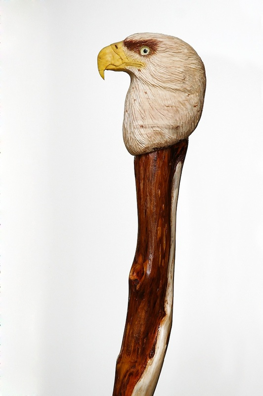 handcarved veterans eagle head cane with diamond willow shaft