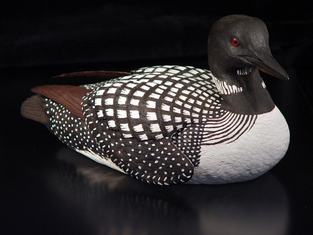 handcarved common loon
