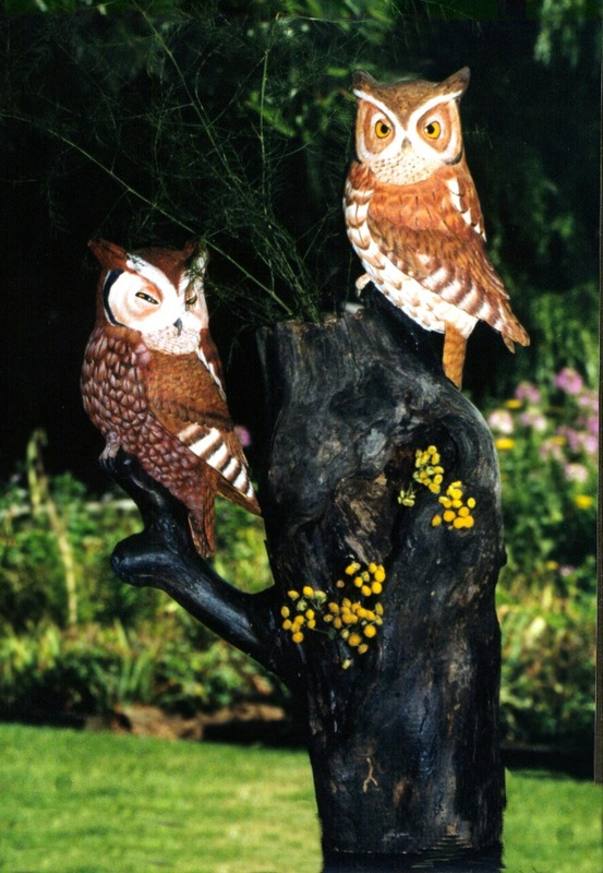 handcarved screech owl pair