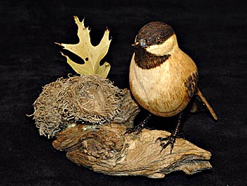 handcarved Chickadee
