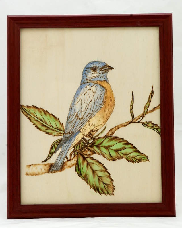 wood burned bluebird with watercolor accent